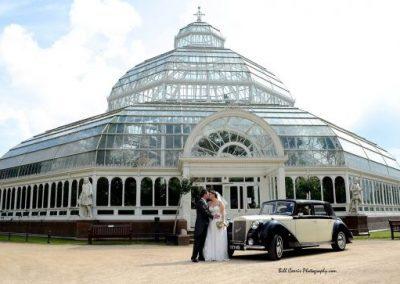 bride and groom palmhouse wedding venue sefton park royale windsor wedding car liverpool merseyside uk