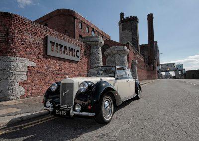 Royale windsor wedding car outside The Titanic hotel wedding venue Liverpool Merseyside UK