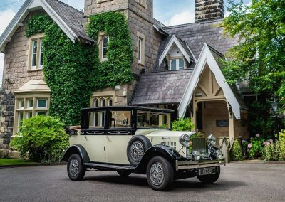 Imperial Viscount Landaulette wedding car outside the West Tower Aughton wedding venue liverpool merseyside uk