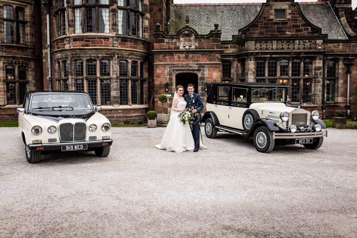 vintage Wedding cars wirral, liverpool at Thornton Manor wedding venue Wirral,Merseyside uk